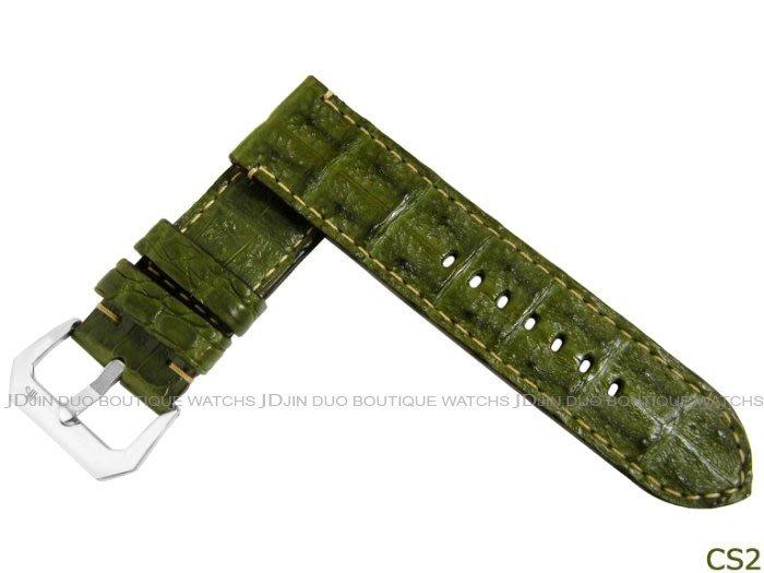 金鐸精品~CS2 沛納海 PANERAI 墨綠色鱷魚小骨皮革手工皮錶帶