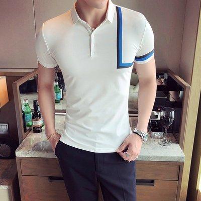 『折扣店』(862511)韓版 2018夏季 英倫 男士彩條裝飾 修身純色短袖POLO衫 夜店必備