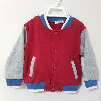 *宣軒賣場*  現貨 6M - 9M 100%純棉  紅色 棒球外套 厚棉 男童 女童 小童 幼兒 附口袋 運動風