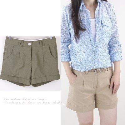 正韓 韓國連線 素色麻料西裝短褲 ~桔子瑪琪朵