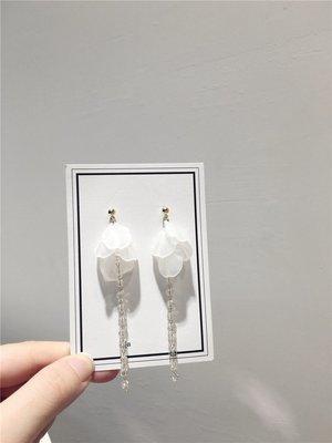 耳飾超仙網紅甜美氣質流蘇人造水晶耳釘 長款白色亞克力花瓣葉子耳釘