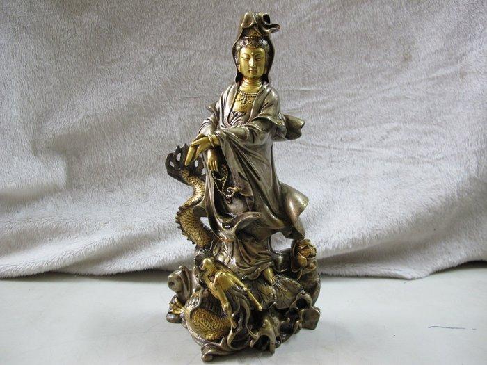 二手舖~NO.403銅觀音菩薩像 騎龍觀音擺件觀自在菩薩佛像 祈福保平安風水裝飾