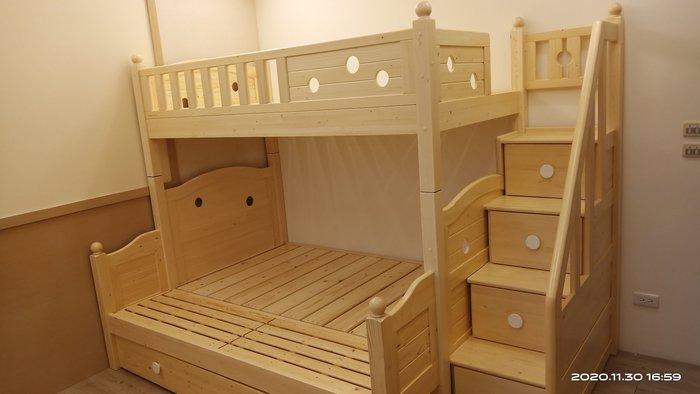 雙層床 兒童床 兒童家具 多功能家具 芬蘭松實木床【1.5米梯雙層床基本款】*兒麗堡*