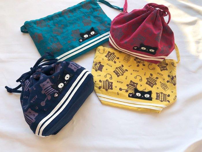 日本卡拉貓~貓咪滿版束口收納袋 便當袋 盥洗包