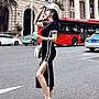 克妹 歐美單! 性感單槓撞色美背摟空開叉長洋裝 初春外套洋裝連身褲韓國後背包吊帶褲牛仔襯衫【AT50233】