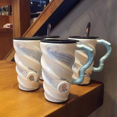 海洋動物清新陶瓷杯個性成人帶蓋帶勺馬克杯辦公室大容量喝水保溫杯