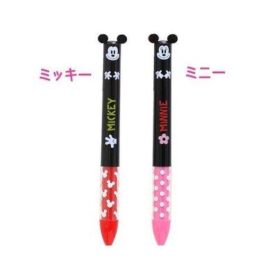 尼德斯Nydus  日本正版 迪士尼 米奇 米妮 雙色原子筆 -共2款 紅黑雙色