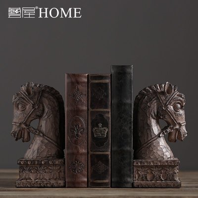 〖洋碼頭〗北歐美式復古樹脂擺件 家居書房書架裝飾品擺設 馬頭書靠書立書檔 ywj163