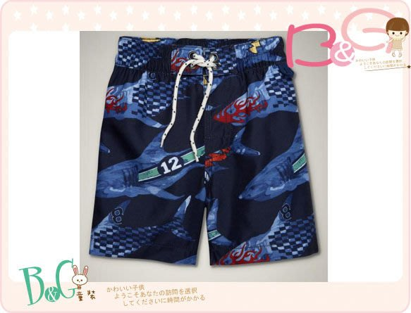 【B& G童裝】正品美國進口GAP Racer shark swim trunks藍色鯊魚海灘泳褲18-