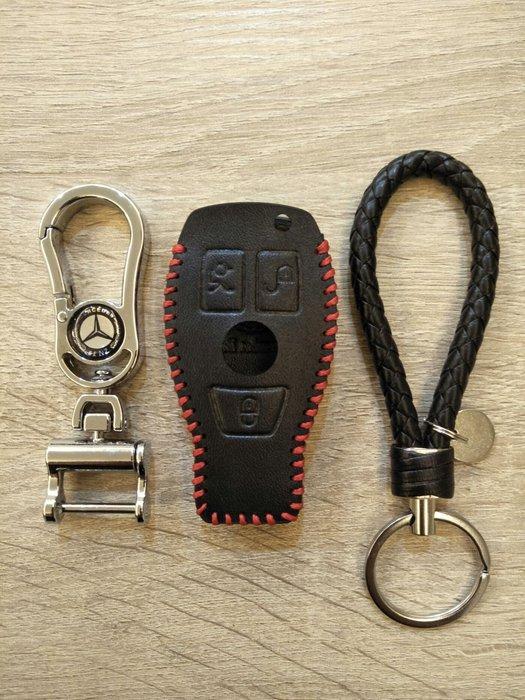 賓士 BENZ 一鍵啟動 新C GLC 全包鑰匙套 紅線 含金屬與編織鑰匙圈