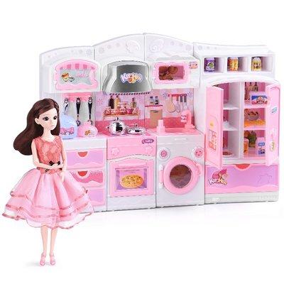積木城堡 迷你廚房 早教益智兒童仿真廚房小伶玩具套裝做飯過家家公主煮飯廚具小女孩生日禮物