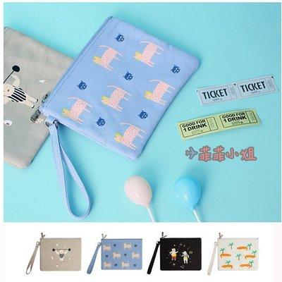 komeshop 雙拉鏈 原創系列 雙層 帆布小型收納 零錢包 / 手拿包