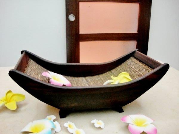 Y【永晴峇里島】巴里島風金元寶造型木製水果盤-水果盤11@