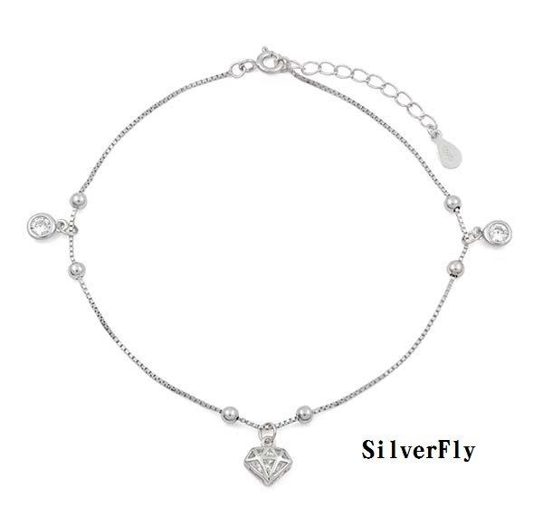 鑽石精緻腳鍊《 SilverFly銀火蟲銀飾 》