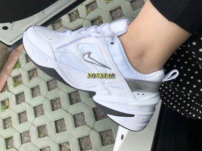 Nike Monarch M2K Tekno 復古 老爹鞋 皮革 白 灰 銀 增高 厚底 男女鞋 BQ3378-100