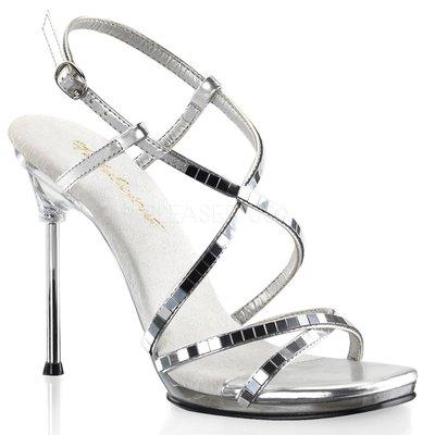 Shoes InStyle《四吋》美國品牌 FABULICIOUS 原廠正品鏡面金屬高跟涼鞋 出清 特價『銀白色』