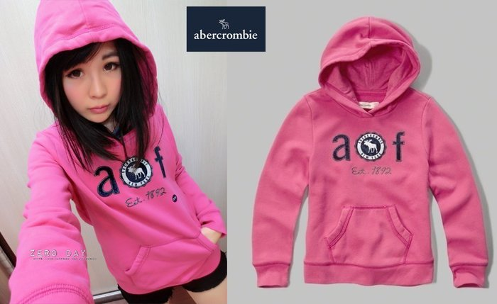 a&f abercrombie&fitch applique logo pullover hoodie麋鹿徽章連帽T粉紅