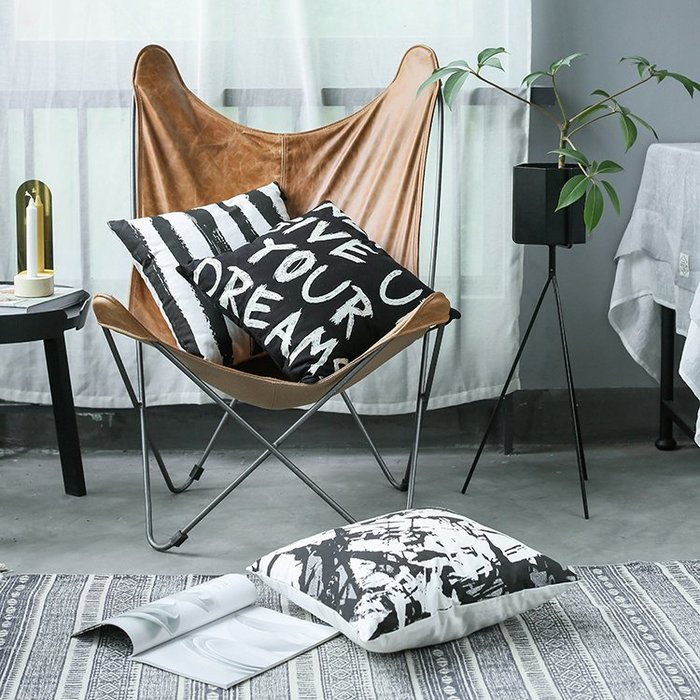 【Uluru】黑白印象簡約抱枕 北歐風格 美式風格 大理石抱枕 字母抱枕 橫條抱枕 枕芯 沙潑枕 靠枕 多件優惠