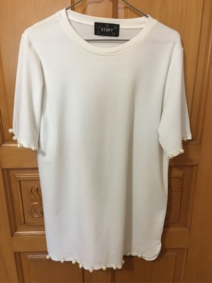 韓國製STORY珠仔白色鬆身長衫