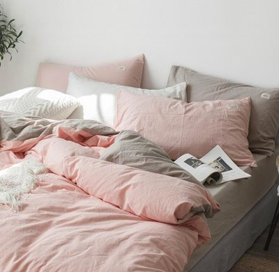 床簽 水洗棉四件套全棉純棉簡約少女心床上用品床單被套宿舍三件套 —莎芭