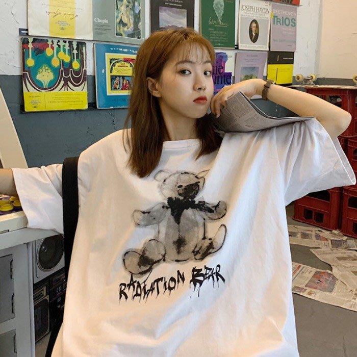 韓版寬松顯瘦洋氣短袖上衣夏新款古著感少女港味下身失蹤T恤女潮