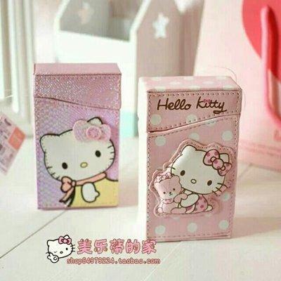 綸綸女性飾品 粉粉可爱卡通(速出貨)hello kitty抱着小熊的粉色煙盒 女孩煙盒