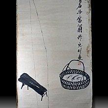【 金王記拍寶網 】S1052  中國近代書畫名家 齊白石款 水墨兒時魚紋圖 手繪水墨書畫 老畫片一張 罕見 稀少