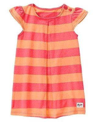 美國GYMBOREE正品新款Striped Flutter Sleeve Dress連身裙洋裝(橘條紋)2T3T4T5T