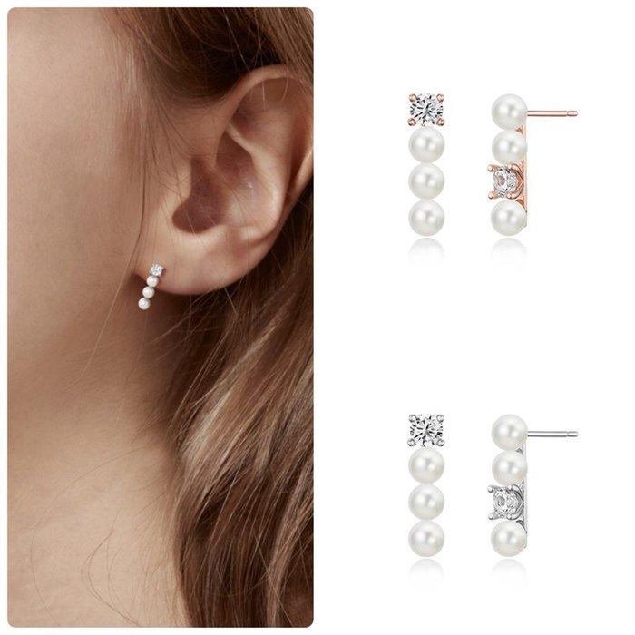 【韓Lin連線代購】韓國 HAESOO.L 海秀兒 - YUE3933 925銀 直立式珍珠鑲鑽耳環