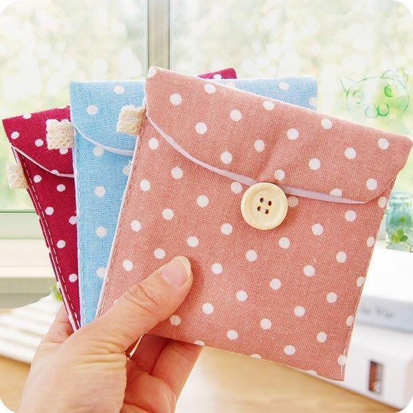 Color_me【F011】清新波點棉麻衛生包 日韓布藝可愛 衛生棉包 收納包 衛生棉袋 衛生包 棉麻包 衛生紙 零錢包