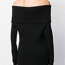 【WEEKEND】 UNRAVEL 大露肩 平口 反摺 針織 彈性 排扣 上衣 黑色 19秋冬 折扣