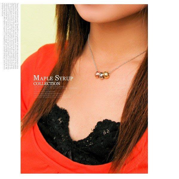 飾品~韓國 ~幸運金銀銅三色圓珠 項鍊 607~80~1 霧圓款