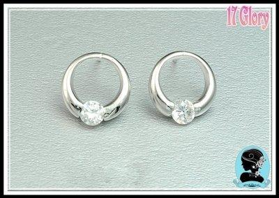 【圓圈簡約單顆美鑽■ 925純銀耳環】...