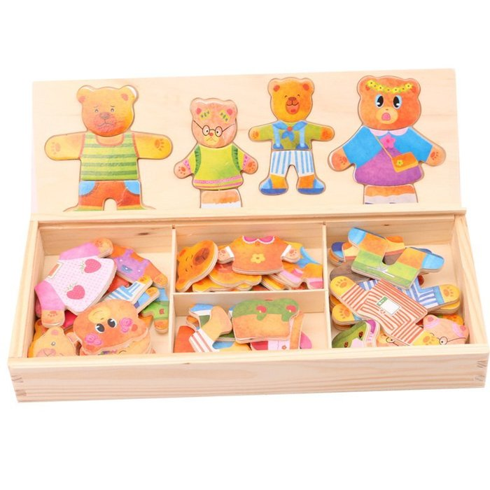 立體拼圖積木 木製嬰兒童小熊換衣服 男女孩寶寶益智立體拼圖積木玩具_☆找好物FINDGOODS☆