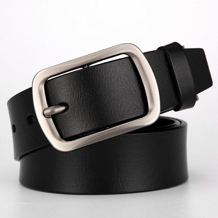 ZK2011BK時尚高質感穿針式牛皮腰帶皮帶(腰圍在22-42吋以內適用)