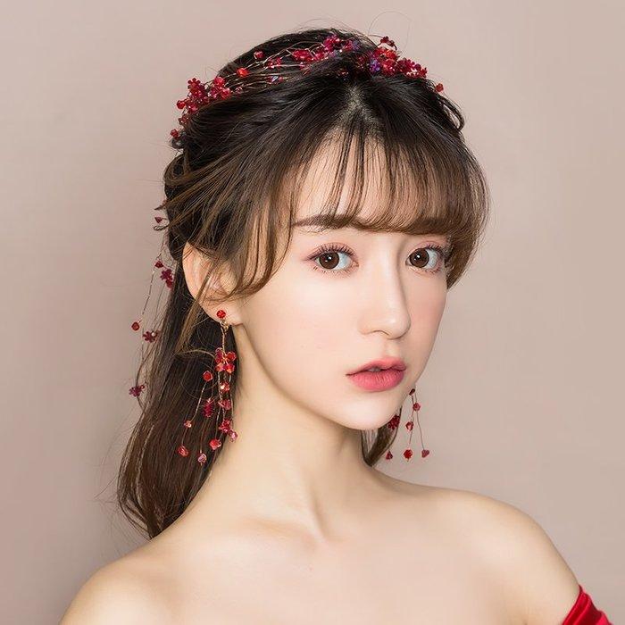 解憂zakka~ 新娘頭飾2019新款結婚紅色婚紗禮服發飾韓式婚禮敬酒服超仙配飾品#頭飾#髮飾