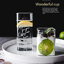 【高款】方形 玻璃杯 耐高溫 金色 字母玻璃杯 咖啡杯 果汁杯 創意 早餐杯 字母 水杯【窩窩宅】