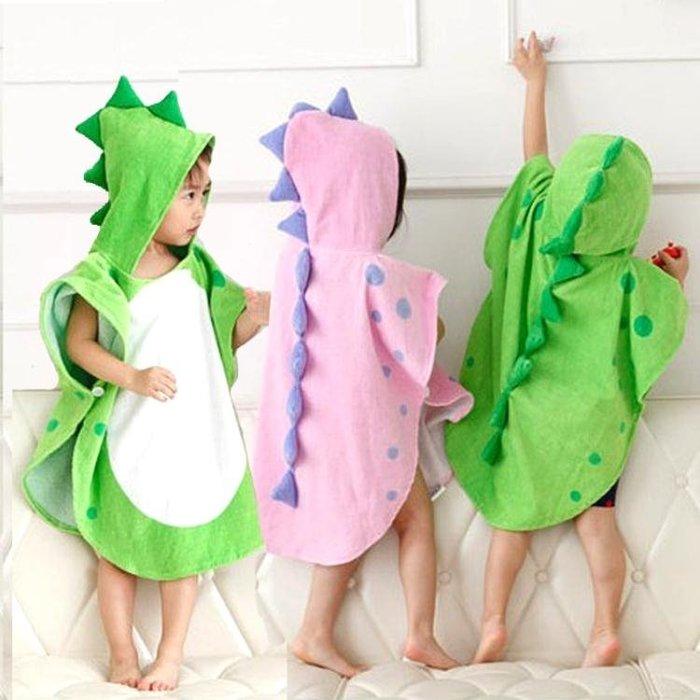 卡通恐龍浴袍防曬沙灘巾兒童毛巾斗篷浴巾帶帽寶寶溫泉套頭衫