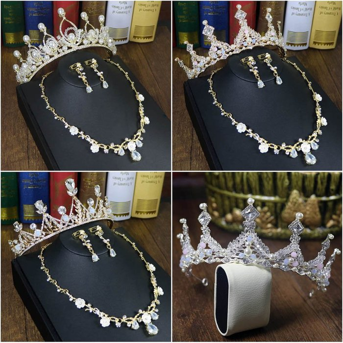 爆款--新娘皇冠頭飾三件套裝新款奢華大氣結婚禮發飾品韓式項鏈耳環#新娘用品#頭飾#復古#手工藝品