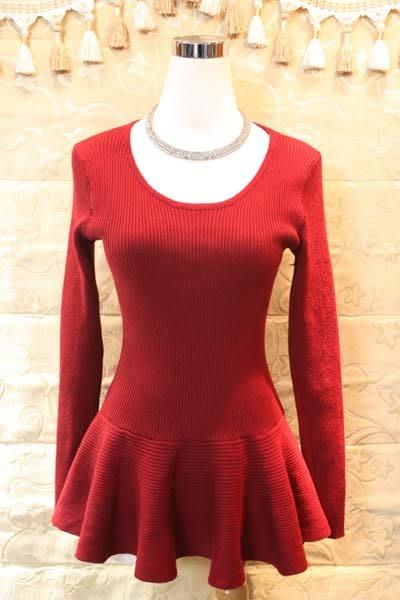 【性感貝貝2館】紅色傘狀澎澎裙擺針織上衣