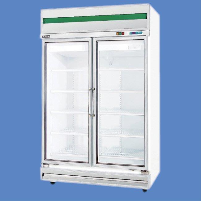 鑫忠廚房設備-餐飲設備:標準型雙門玻璃冷藏展示冰箱-賣場有水槽-快速爐-工作台-西餐爐