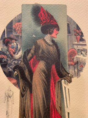 夢夢園MADE IN ITALY 古典貴婦裝造型圖稿/ 30年老粉彩畫 29x22 貂毛斗蓬Luxury mint cloak.⚜️