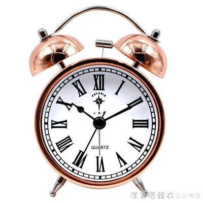 北極星鬧鐘靜音床頭鐘創意簡約時尚金屬電子鐘復古學生大聲鬧鈴 NMS