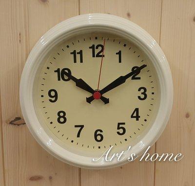藝術的家生活雜貨傢飾家具-金屬圓形掛鐘(白)