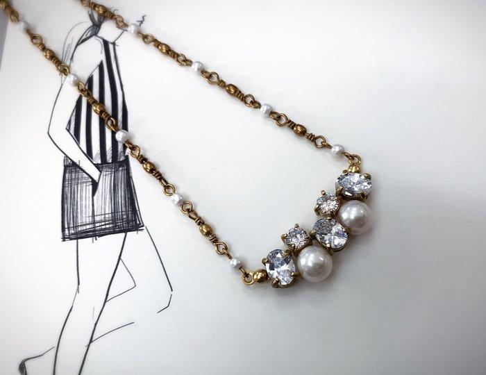 Ferron Accessories   F116 天然珍珠項鍊   訂製 Handmade 復古 歐美 黃銅