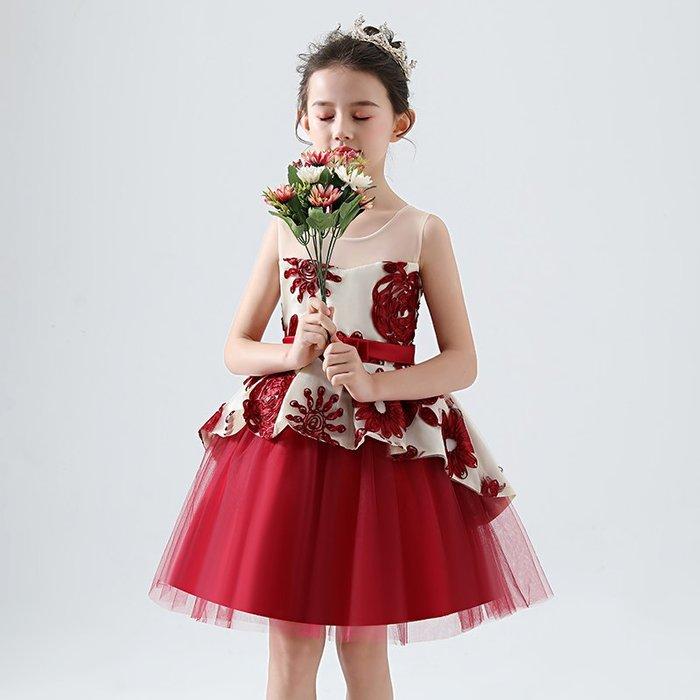 •*~ 辣媽咪衣飾小舖 ~*•❤童裝系列❤K980467韓版大童夏款甜美清新時尚蓬蓬蕾絲亮片可愛公主禮服公主洋裝