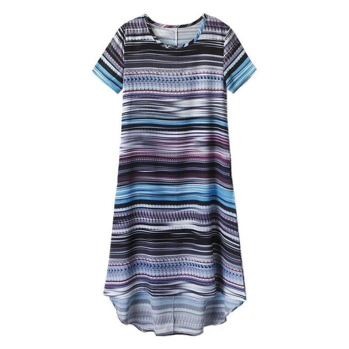 [C.M.平價精品館]M現貨出清特價/簡單知性前短後長隨興有型短袖洋裝