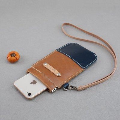 項鍊 掛脖 小包 夾式 手機 真皮 頸掛 皮套 4.7吋 手縫 ∣ Be Two