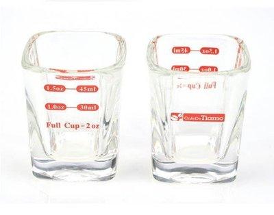 晴天咖啡☼ Tiamo 義式咖啡 玻璃 方形量杯 2oz 耐熱玻璃量杯 AC0015 義式咖啡量杯 60ml