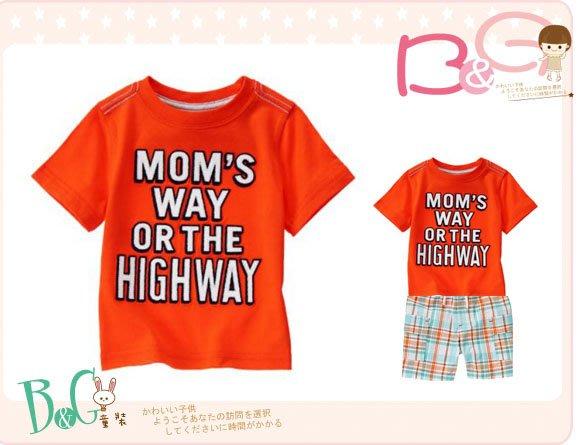 【B& G童裝】正品美國進口Crazy8 Mom's Way Or The Highway橘色短袖上衣12-18-24m